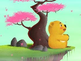 芒果熊插画——《大叶纷飞》