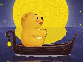芒果熊插画——《小船》