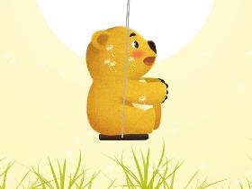 芒果熊插画——《荡秋千》
