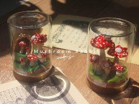 原创手工红蘑菇毒蝇伞兔玻璃瓶摆件拍摄道具