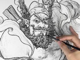 《钟馗》炭笔绘画创作