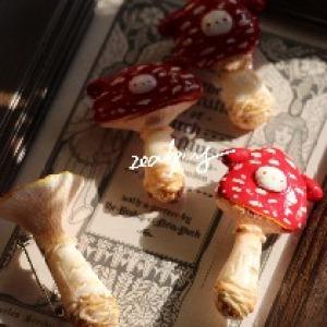 原创手作 毒蝇伞 红蘑菇兔系列胸针