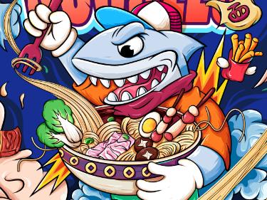 《鲨鱼小面》潮流插画