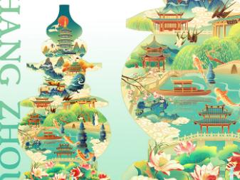 【西湖十景】杭州主题国风插画