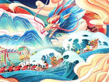 佛山南海龙舟文化——文创插画